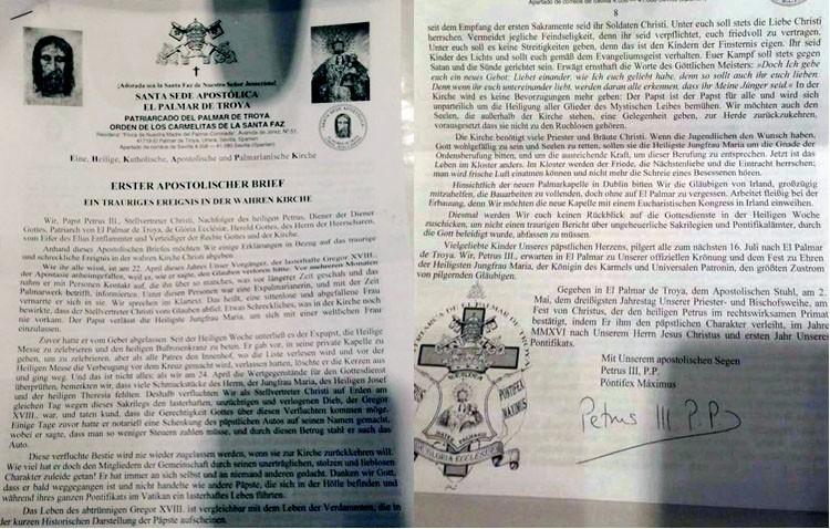 El «papa» de la iglesia palmariana acusa a su antecesor de la desaparición de joyas de varias imágenes
