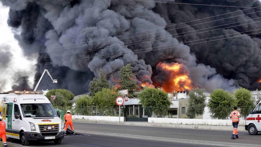 Efectivos de bomberos y Protección Civil de Utrera participan en la extinción del devastador fuego de Ybarra