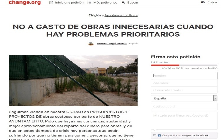 Recogida de firmas para que el dinero público de Utrera se gaste en «obras necesarias»