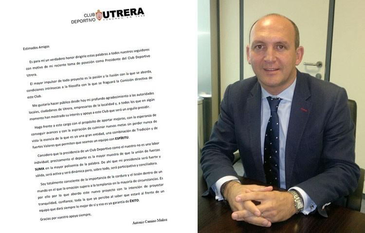 Antonio Camino plantea «mejoras, avances y nuevas metas» para el C.D. Utrera