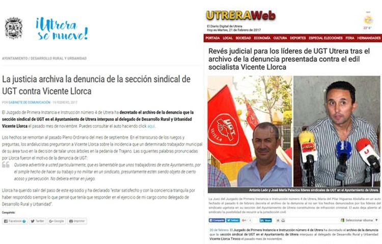UGT destaca la «falta de profesionalidad» del gabinete de prensa del Ayuntamiento y de Utreraweb