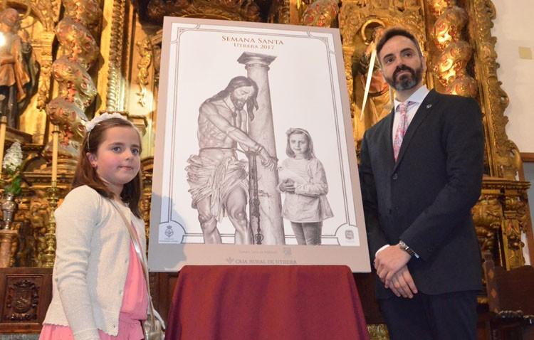 La joven Irene, protagonista simbólica de la «paz» en el cartel de Semana Santa junto al Cristo de los Aceituneros (AUDIO E IMÁGENES)