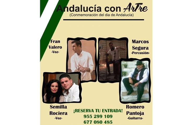 Cuatro artistas en la sala «Artre» en un concierto para celebrar el Día de Andalucía