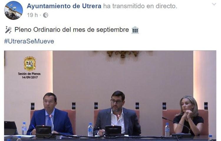 El Ayuntamiento de Utrera estrena la retransmisión de los plenos a través de Facebook