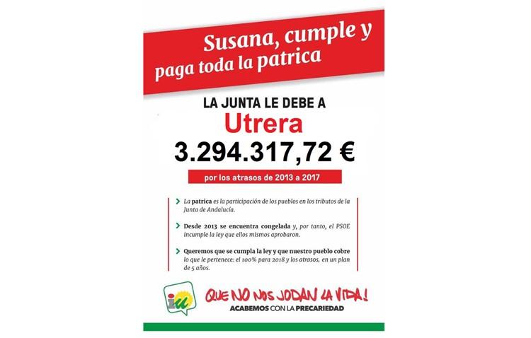 IU reclama que la Junta pague a Utrera los 3,3 millones de euros que le debe por los tributos autonómicos