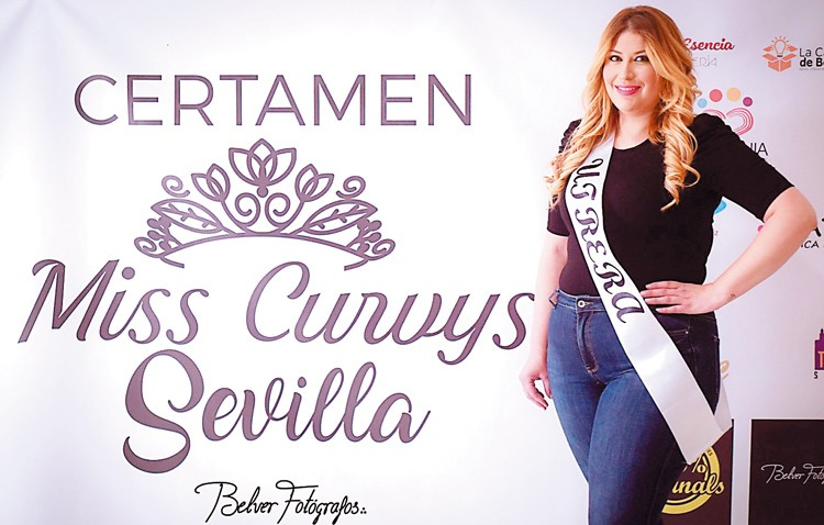 La utrerana Sandra Segovia, en el certamen de belleza «Miss Curvys Sevilla»