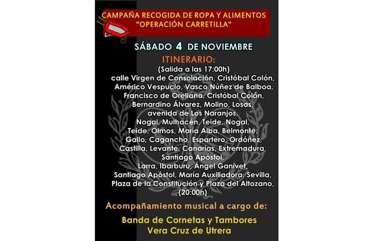 Recogida de alimentos y ropa con la «Operación carretilla» de la hermandad de la Vera-Cruz