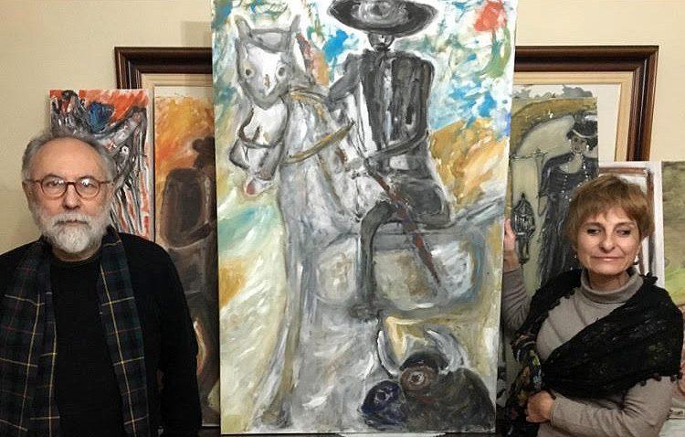Una exposición de pintura protagonizada por la invidente utrerana María José Fernández