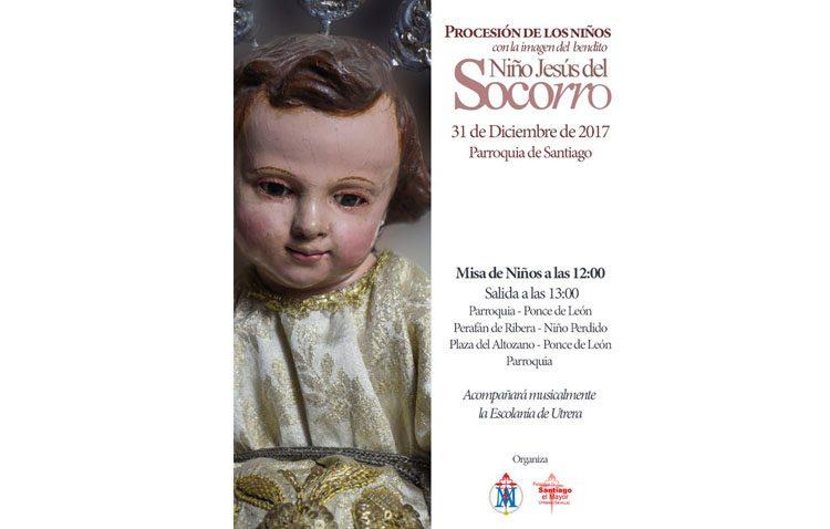 Procesión del Niño de la Virgen del Socorro desde la parroquia de Santiago