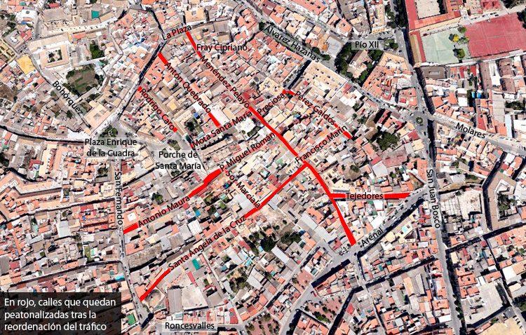 El barrio de Santa María será peatonal y la calle Arenal quedará con un único sentido de circulación
