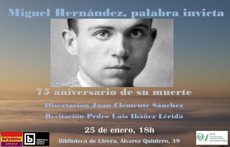 Homenaje a Miguel Hernández en la biblioteca de Utrera en el 75º aniversario de su muerte