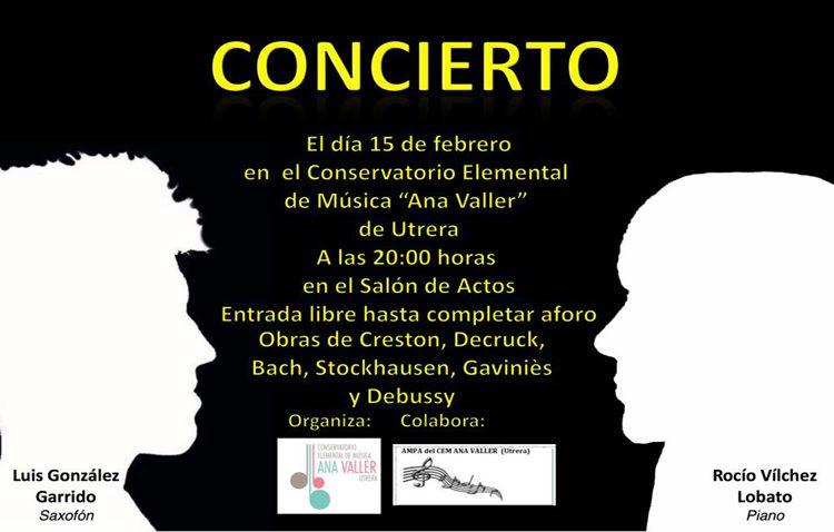 Concierto de saxofón y piano en el conservatorio de Utrera
