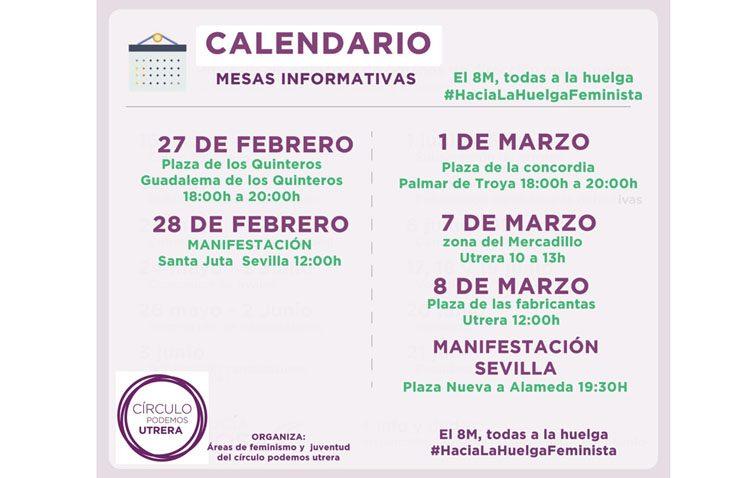 Podemos programa cuatro mesas informativas en Utrera sobre la huelga feminista del 8 de marzo