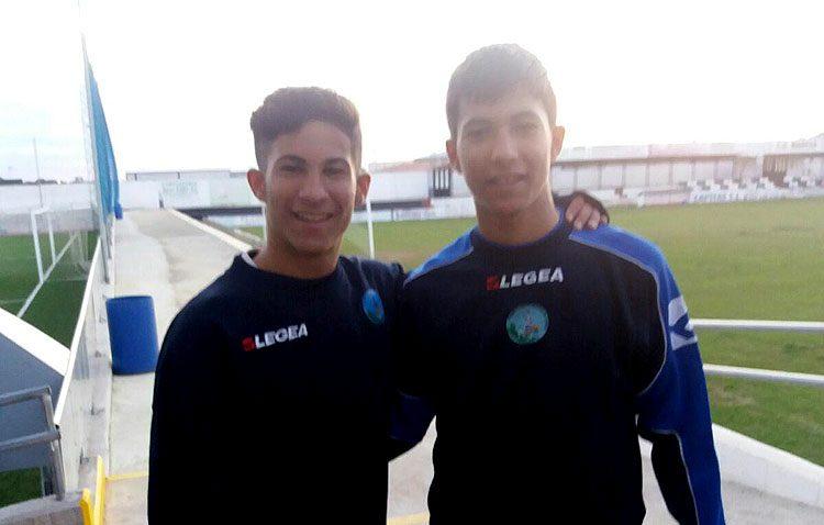Los utreranos Diego y Manuel Jiménez, en el campeonato andaluz de fútbol