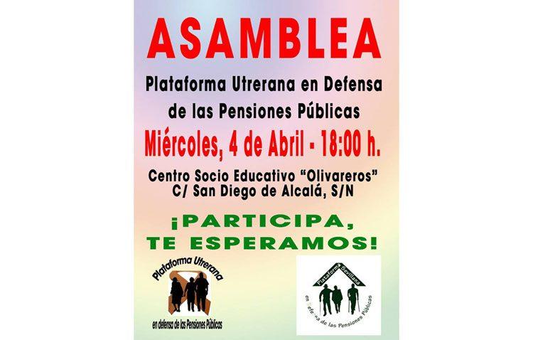 La plataforma utrerana en defensa de las pensiones públicas organiza una asamblea informativa