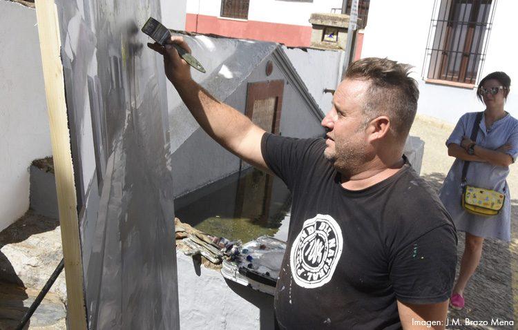 El artista utrerano Abraham Pinto, primer premio del certamen nacional de pintura al aire libre de la localidad onubense de Cortelazor la Real