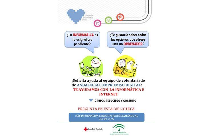 «Andalucía Compromiso Digital» llega a la biblioteca para enseñar conocimientos sobre informática a los utreranos
