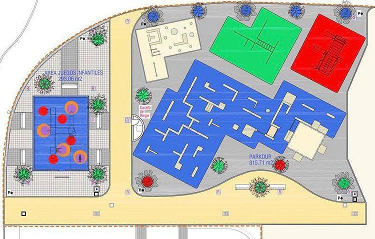 La Coduva contará con una zona para la práctica de parkour y calistenia junto a las pistas de patinaje