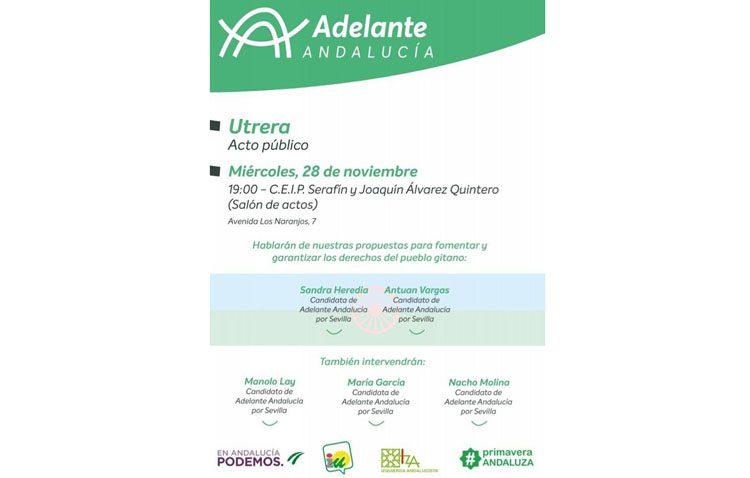 Adelante Andalucía realiza este miércoles su acto central de la campaña en Utrera