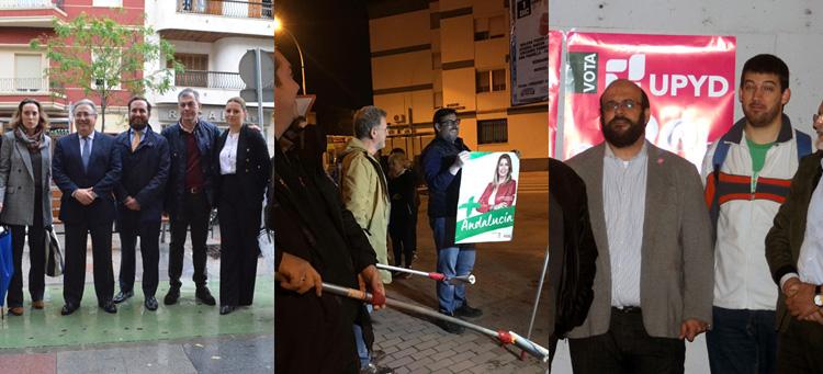 Las pegadas de carteles y las primeras visitas de políticos marcan el comienzo de la campaña electoral andaluza en Utrera