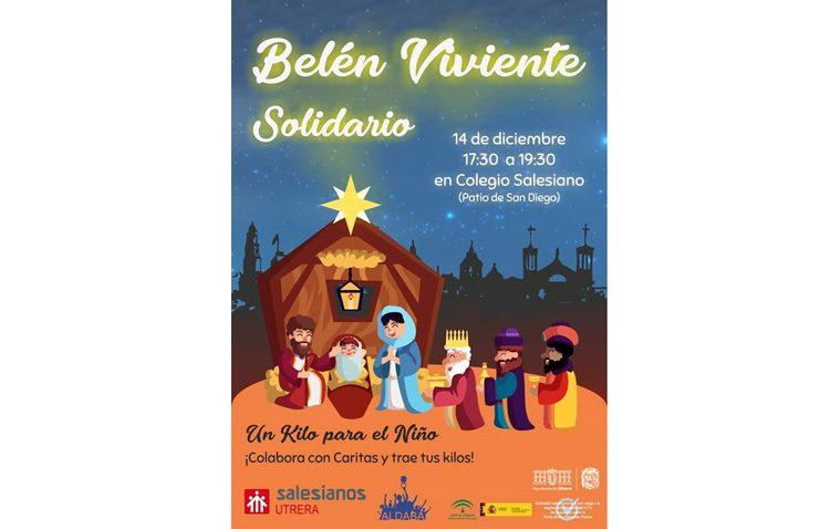 Belén viviente solidario de Aldaba en el patio de San Diego de los Salesianos