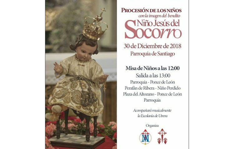 Procesión con el Niño de la Virgen del Socorro en la parroquia de Santiago