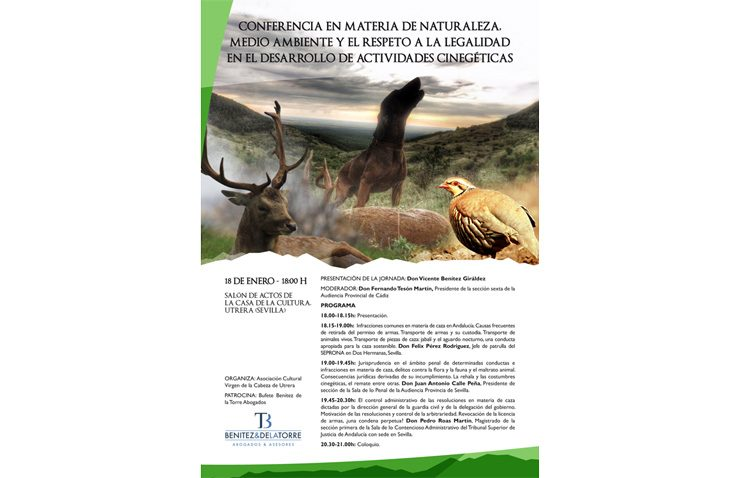 La caza y su respeto a la ley, protagonista este viernes de una conferencia en Utrera
