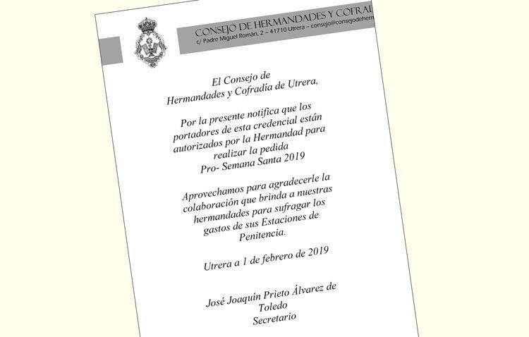 Acreditaciones para la pedida de las hermandades en Utrera con las que evitar casos de fraude