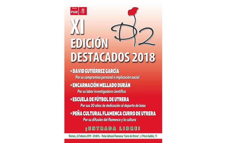 David Gutiérrez, Encarnación Mellado, la Escuela de Fútbol y la peña Curro de Utrera, premios «Destacados» del PSOE