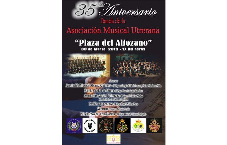 Un concierto con las seis bandas de música locales para celebrar el 35º aniversario de la Asociación Musical Utrerana