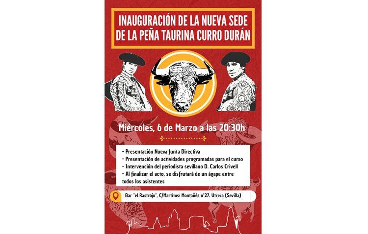 La peña taurina «Curro Durán» inaugura su nueva sede