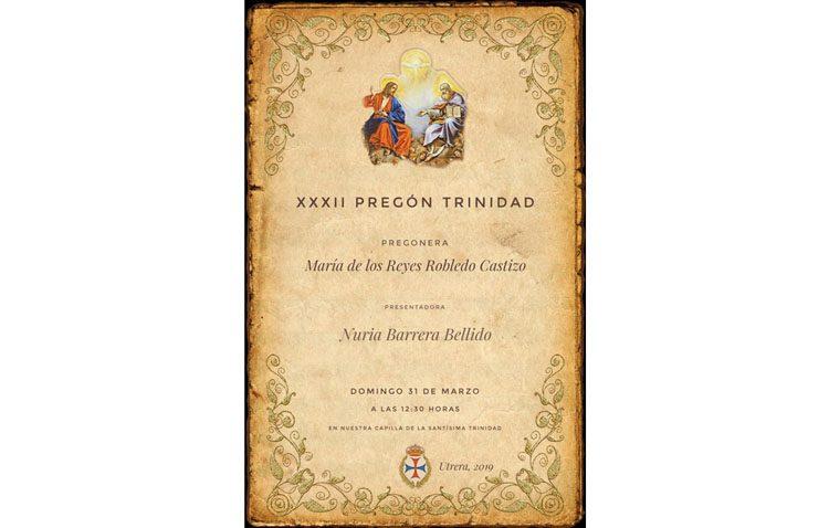 La utrerana María de los Reyes Robledo pronunciará el pregón de la Trinidad