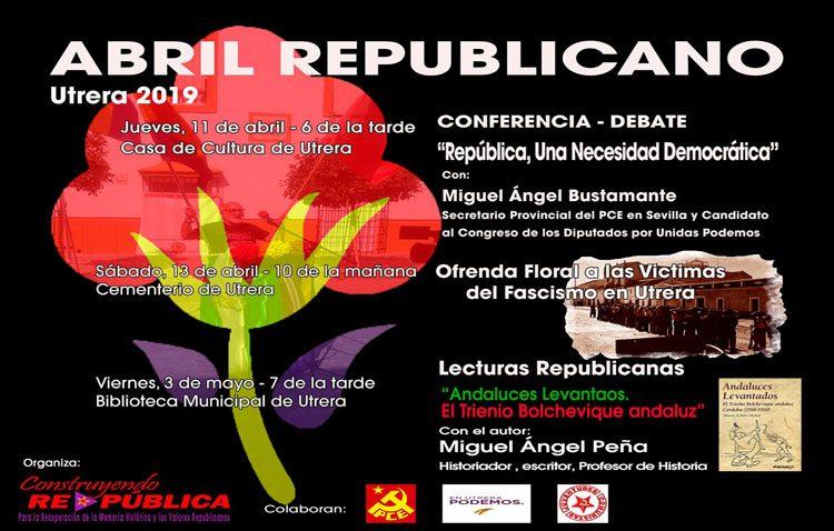 Un debate, una ofrenda floral y un acto literario para conmemorar el «Abril republicano» en Utrera