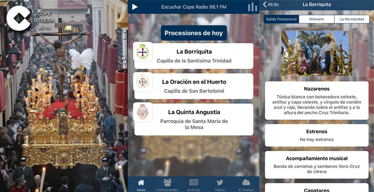 La app «Semana Santa COPE Utrera» llega un año más con datos en exclusiva y disponible para Android y iPhone