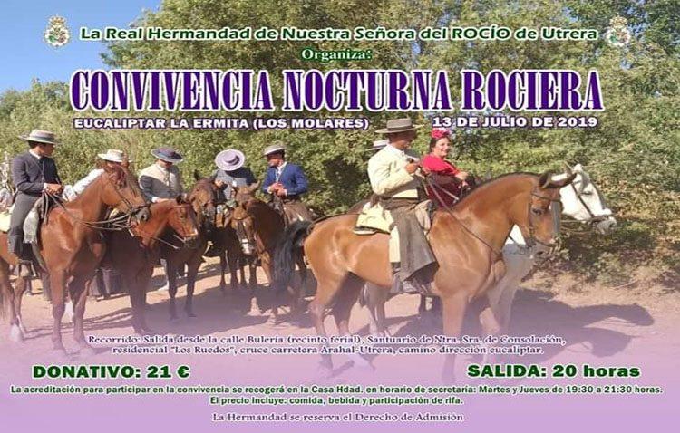 La hermandad del Rocío de Utrera organiza una convivencia nocturna en un eucaliptar de Los Molares