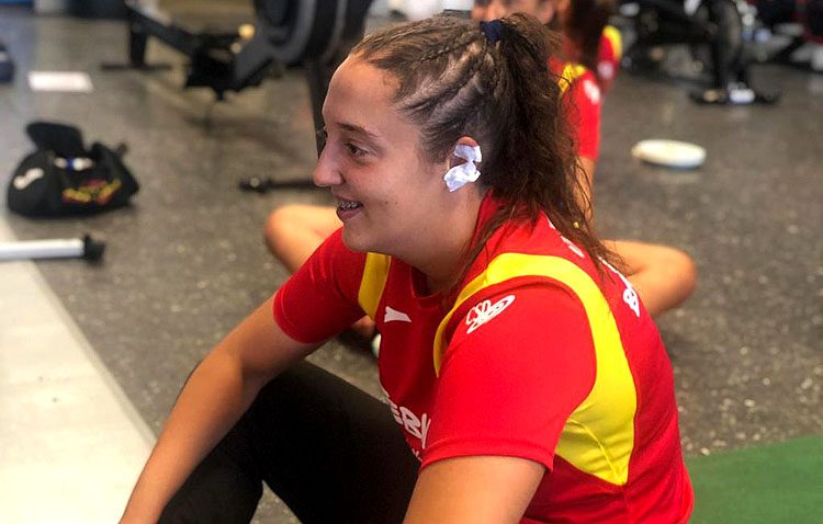 La utrerana Andrea Moreno, con la selección española en el campeonato europeo juvenil de balonmano