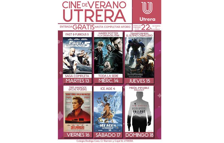 Otros seis títulos para una nueva semana de proyecciones en el cine de verano de Utrera