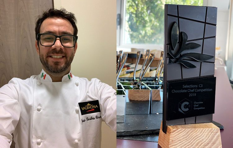 El chef utrerano Jesús Escalera, en una competición mundial de postres con chocolate