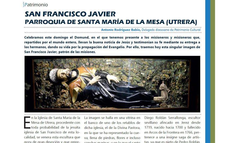 La utrerana imagen de San Francisco Javier, protagonista a nivel provincial gracias a la revista de la diócesis