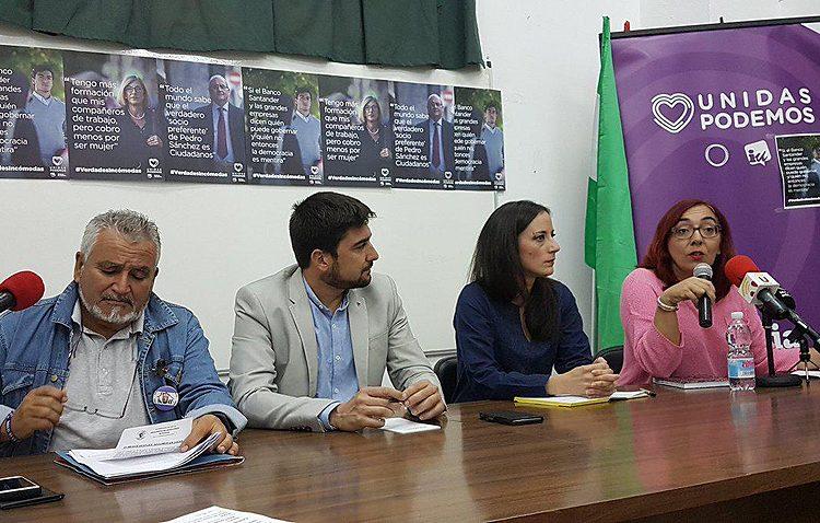 Un acto de Unidas Podemos en Utrera en defensa de las pensiones públicas y contra la precariedad laboral