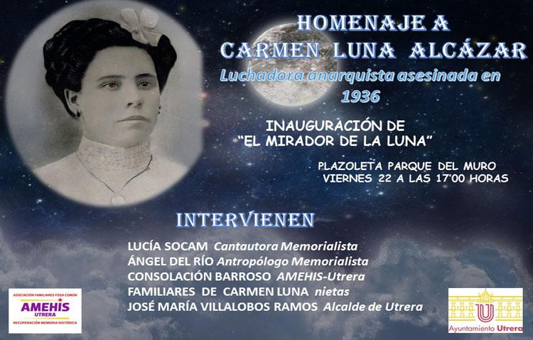 El homenaje de Utrera a la republicana Carmen Luna, el viernes 22 con la inauguración de un mirador con su nombre