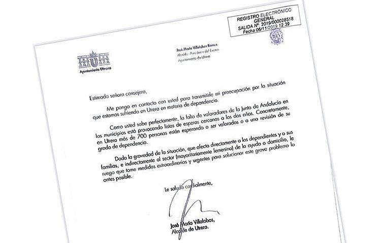 El alcalde de Utrera reclama a la Junta «medidas extraordinarias y urgentes» para los «más de 700» dependientes en lista de espera