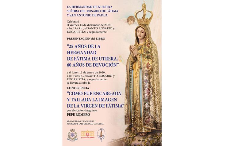 Un libro y una conferencia abordarán la historia de la hermandad de Fátima en Utrera y de su imagen titular
