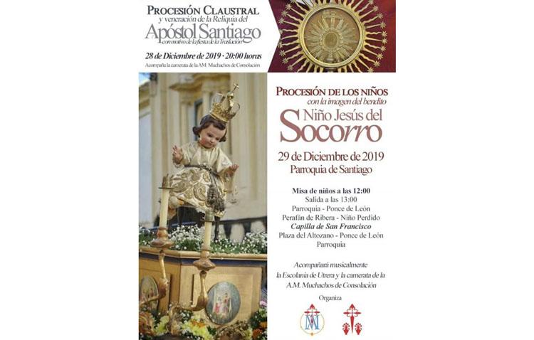 Una procesión con el Niño Jesús de la Virgen del Socorro para cerrar el año en la parroquia de Santiago