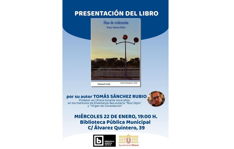 Presentación de un libro de Tomás Sánchez Rubio en la biblioteca de Utrera