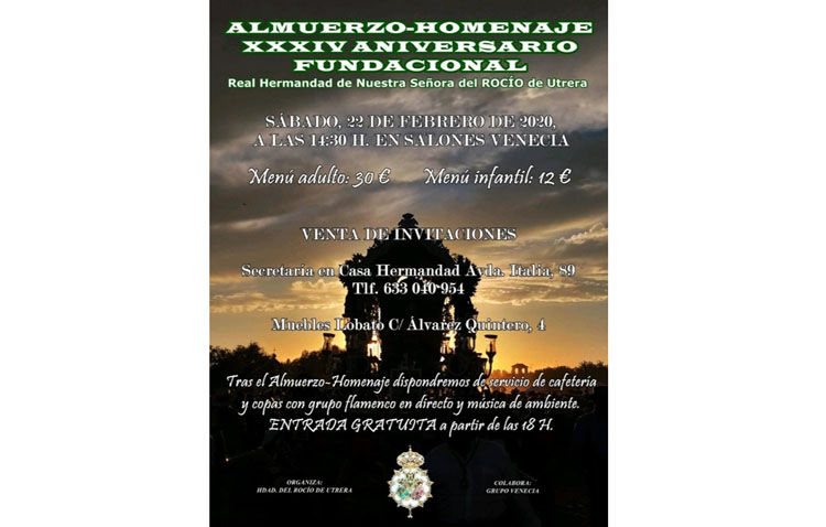 La hermandad del Rocío celebra su trigésimo cuarto aniversario con un almuerzo de convivencia