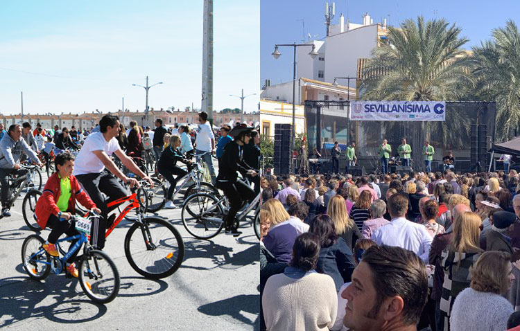 Paseo en bicicleta y sevillanas en Utrera para el puente del Día de Andalucía