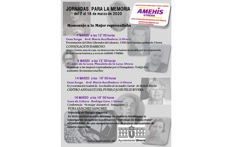La asociación de memoria histórica de Utrera organiza unas jornadas en homenaje a la mujer represaliada