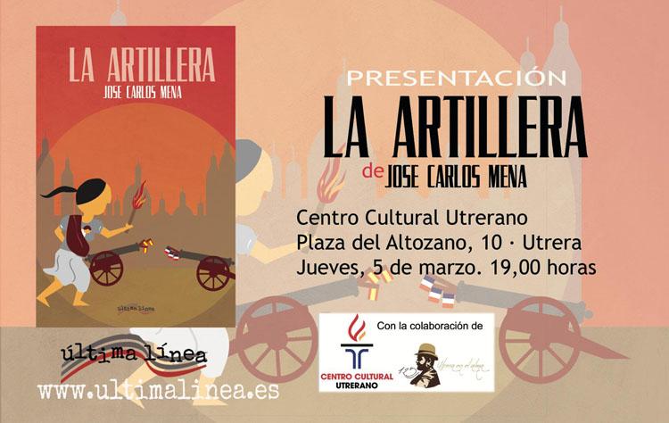 El arahalense José Carlos Mena presenta en Utrera su libro «La artillera»