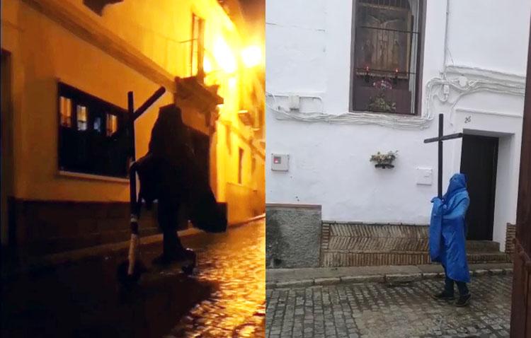Identificado y denunciado por vestirse de nazareno con una cruz y circular en patinete por la calle en Utrera